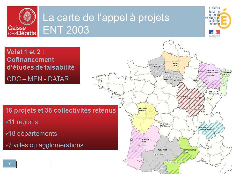 La carte de l'appel à projets ENT 2003