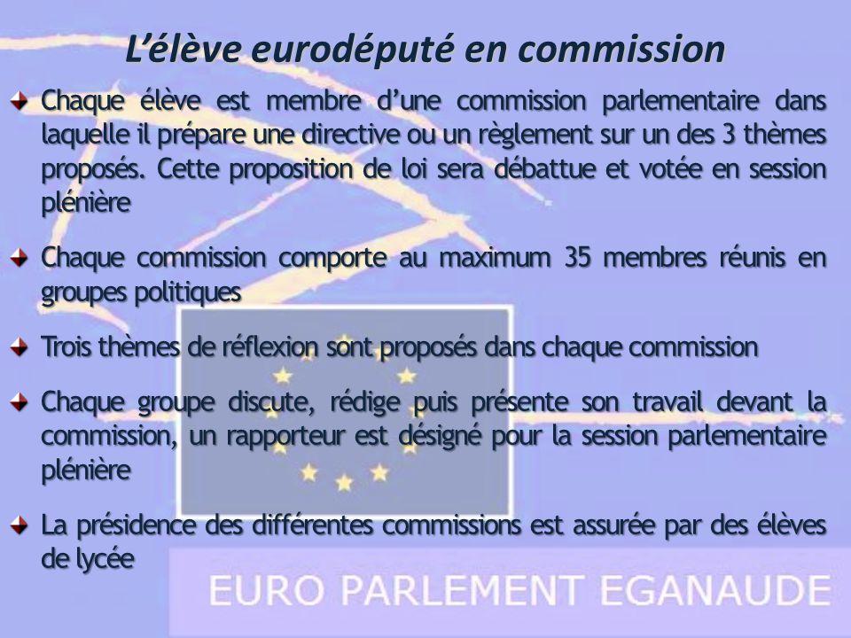 L'élève eurodéputé en commission