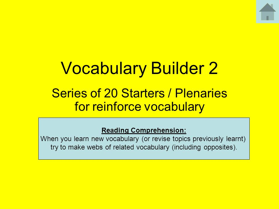 Series of 20 Starters / Plenaries for reinforce vocabulary
