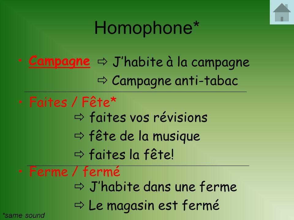 Homophone* Campagne  J'habite à la campagne Campagne anti-tabac