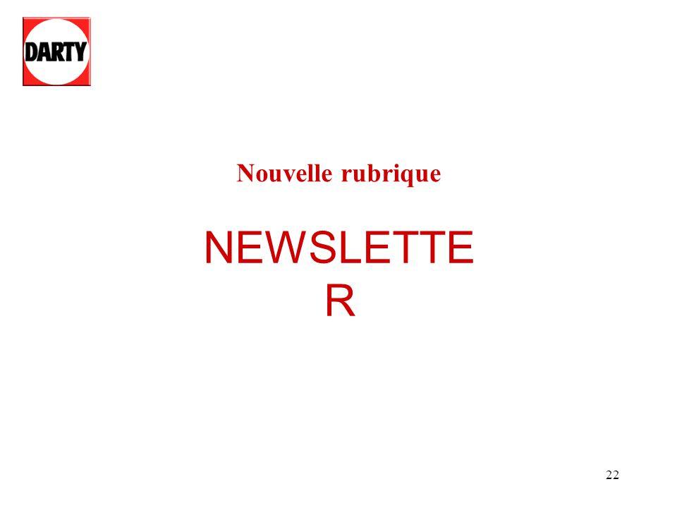 Nouvelle rubrique NEWSLETTER