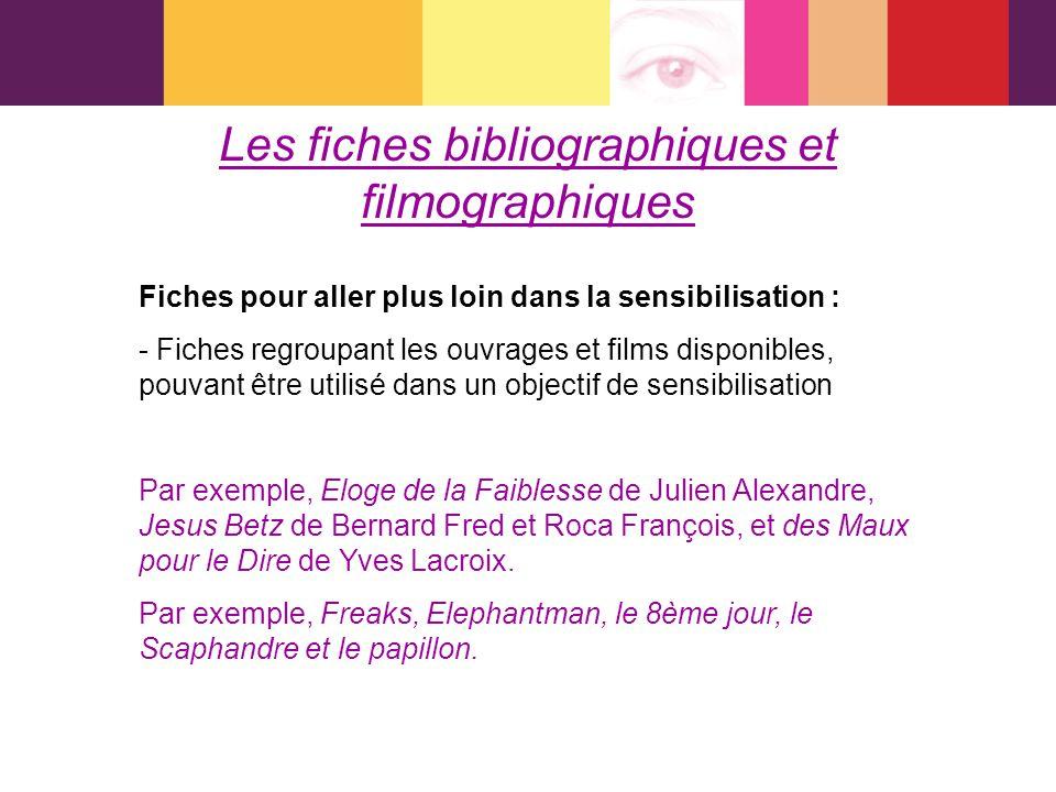 Les fiches bibliographiques et filmographiques