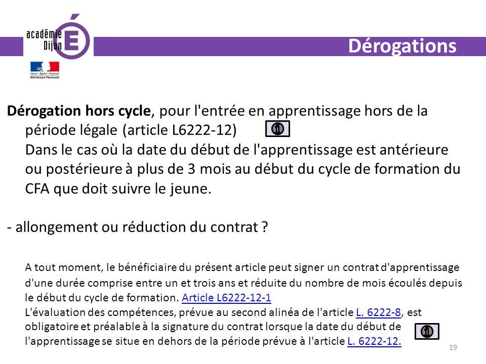 Dérogations Dérogation hors cycle, pour l entrée en apprentissage hors de la période légale (article L6222-12)