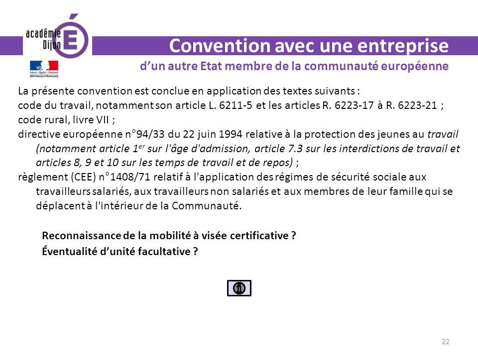 Convention avec une entreprise d'un autre Etat membre de la communauté européenne