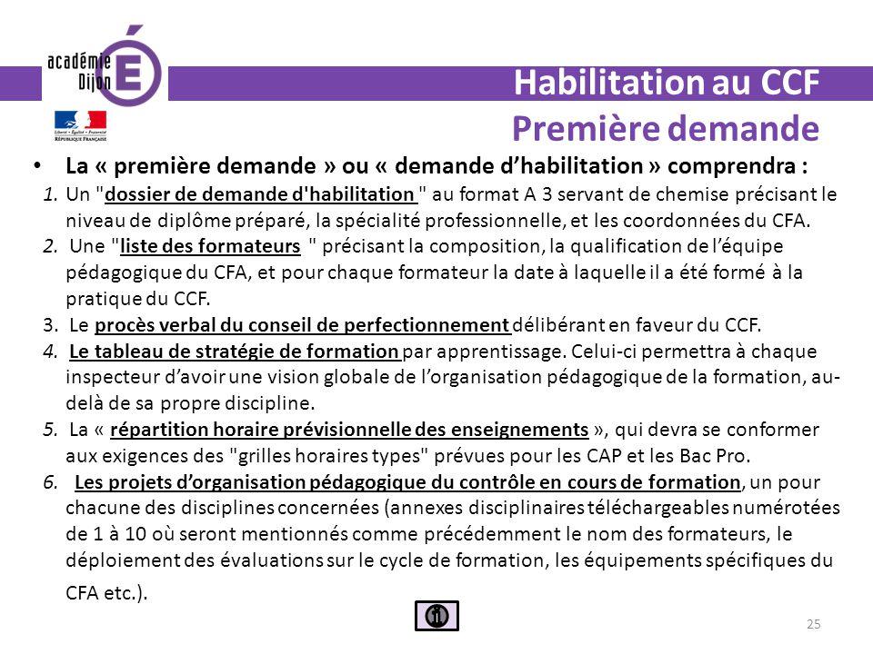 Habilitation au CCF Première demande