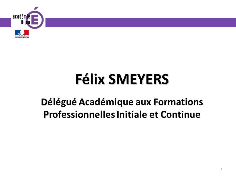 Félix SMEYERS Délégué Académique aux Formations Professionnelles Initiale et Continue