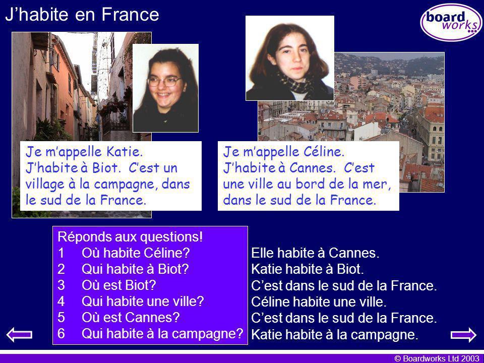 J'habite en France Je m'appelle Katie.