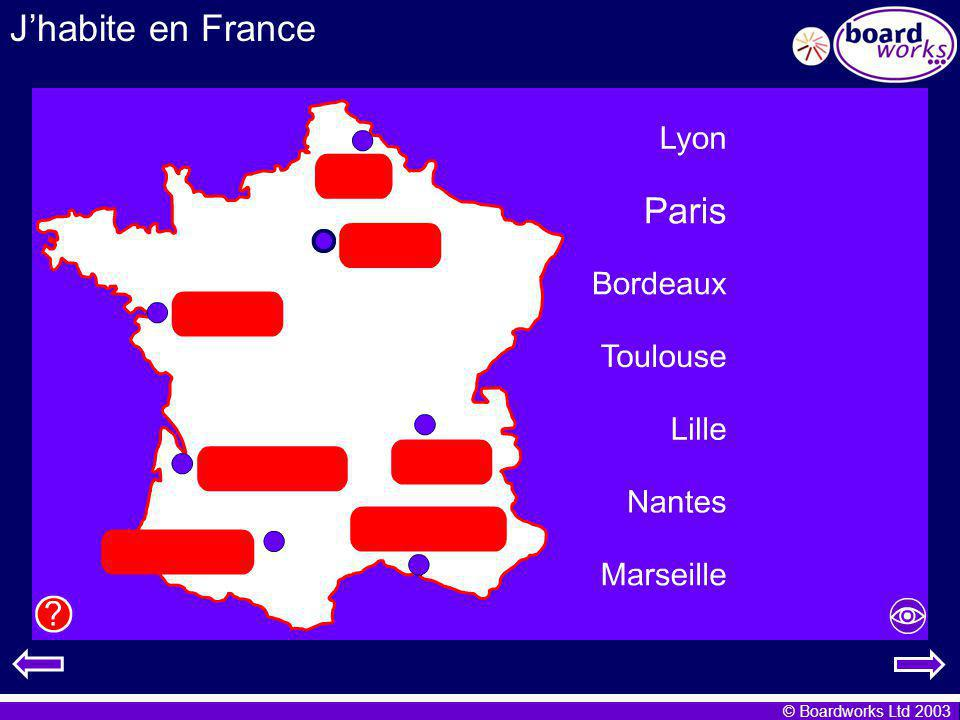 J'habite en France Using a map of France to help them, pupils move the town labels into the correct position on the map.