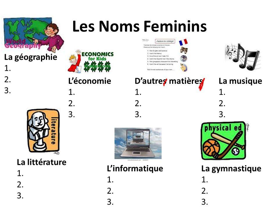Les Noms Feminins La géographie 1. 2. 3. L'économie 1. 2. 3.
