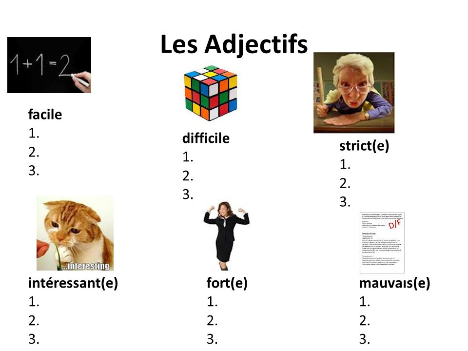 Les Adjectifs facile 1. 2. 3. difficile 1. 2. 3. strict(e) 1. 2. 3.