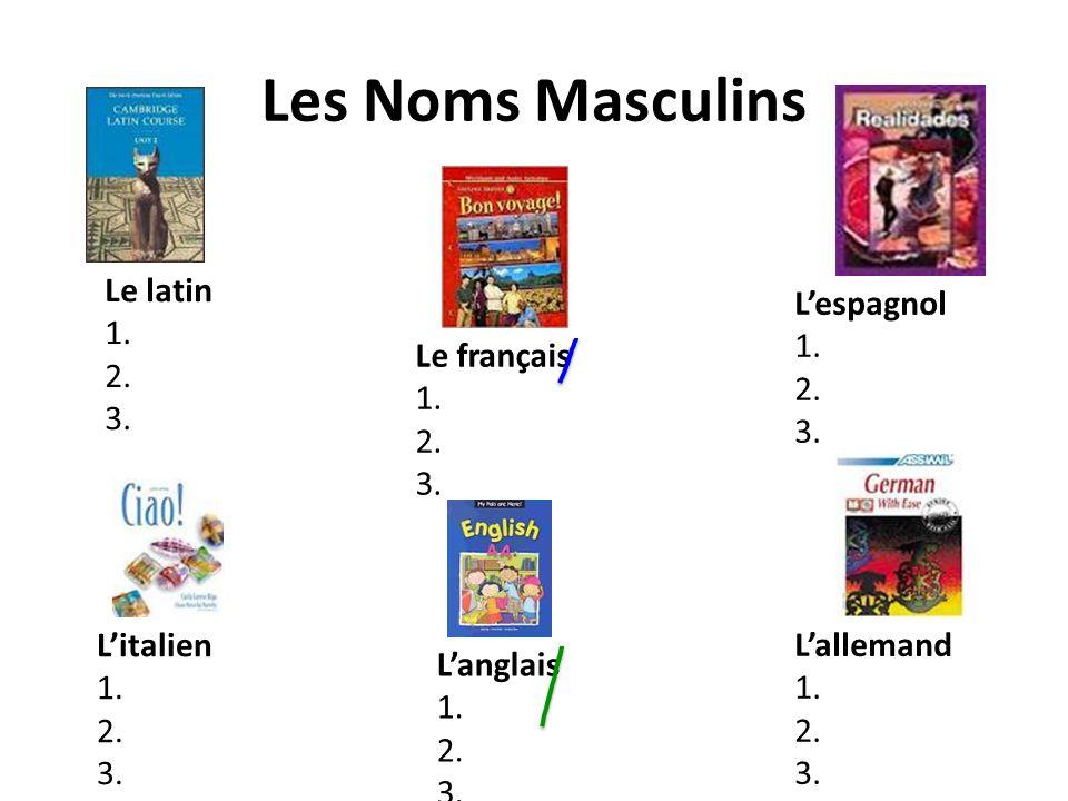 Les Noms Masculins Le latin 1. 2. 3. L'espagnol 1. 2. 3. Le français