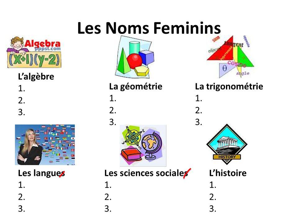 Les Noms Feminins L'algèbre 1. 2. 3. La géométrie 1. 2. 3.