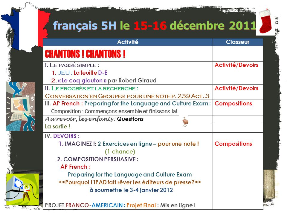 français 5H le 15-16 décembre 2011