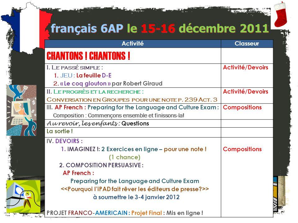 français 6AP le 15-16 décembre 2011