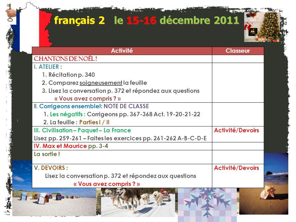 français 2 le 15-16 décembre 2011 Activité Classeur ChanTonS de NOëL !