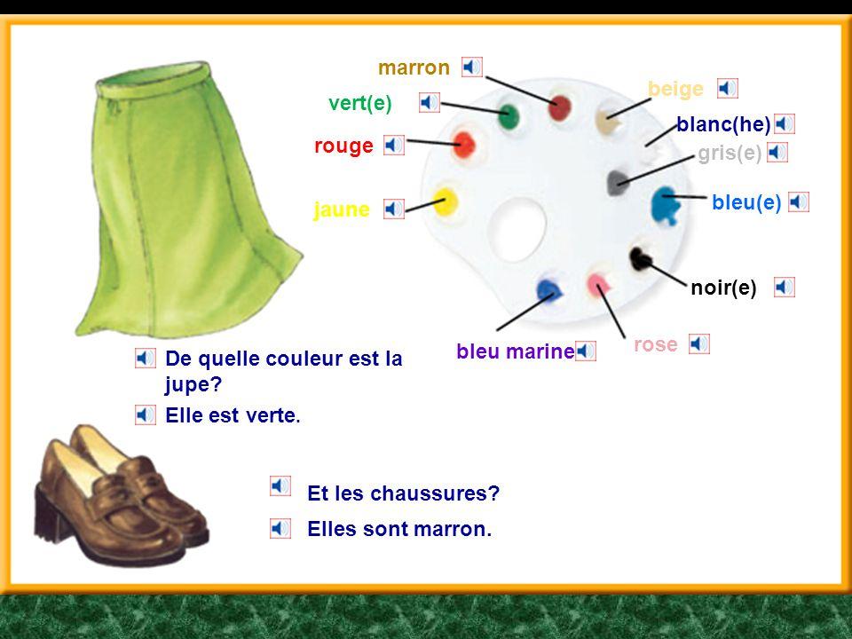 marron beige. vert(e) blanc(he) rouge. gris(e) bleu(e) jaune. noir(e) rose. bleu marine. De quelle couleur est la jupe