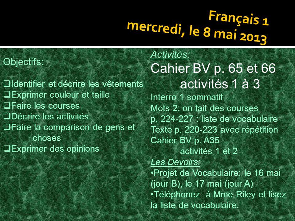 Français 1 mercredi, le 8 mai 2013