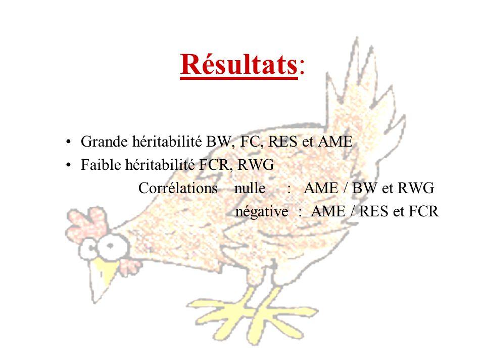 Résultats: Grande héritabilité BW, FC, RES et AME