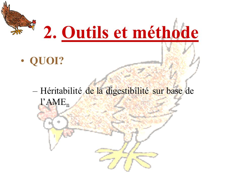 2. Outils et méthode QUOI Héritabilité de la digestibilité sur base de l'AMEn