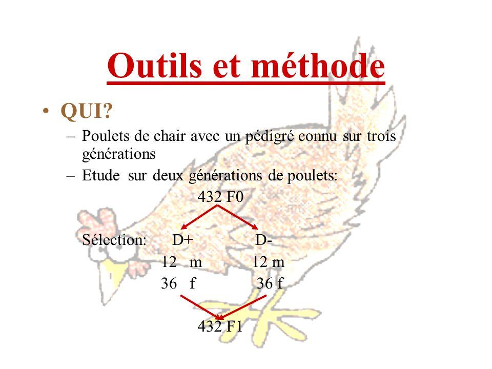 Outils et méthode QUI Poulets de chair avec un pédigré connu sur trois générations. Etude sur deux générations de poulets: