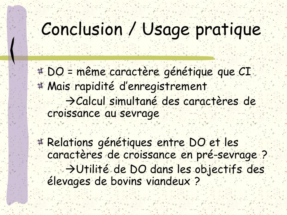 Conclusion / Usage pratique