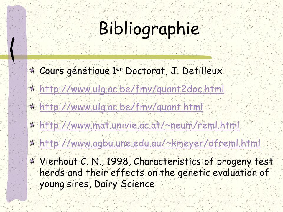 Bibliographie Cours génétique 1er Doctorat, J. Detilleux