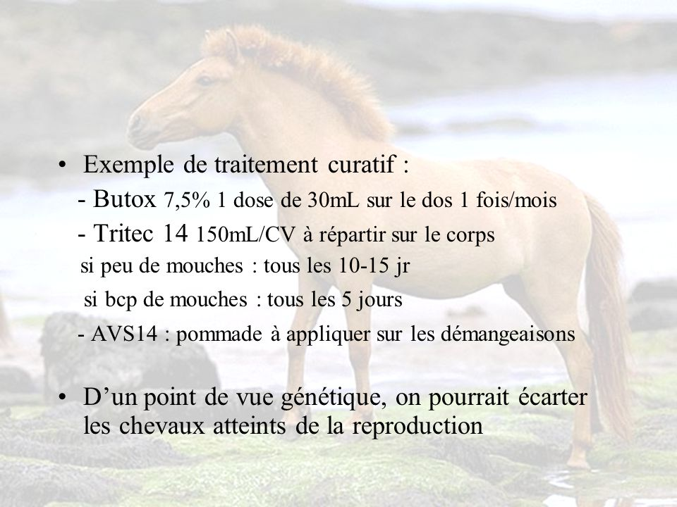Exemple de traitement curatif :