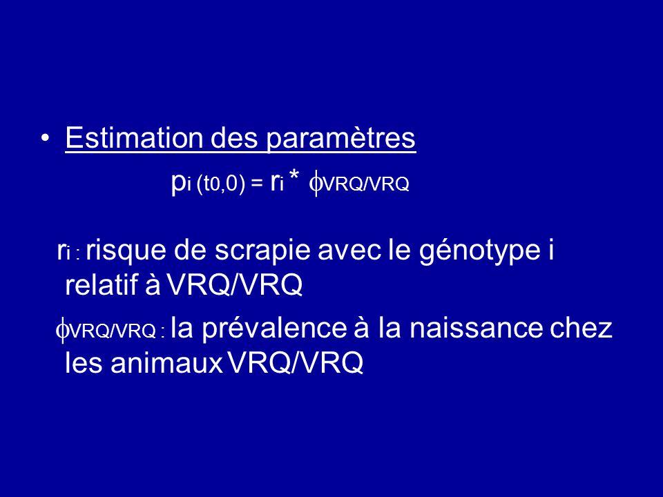 Estimation des paramètres pi (t0,0) = ri * VRQ/VRQ