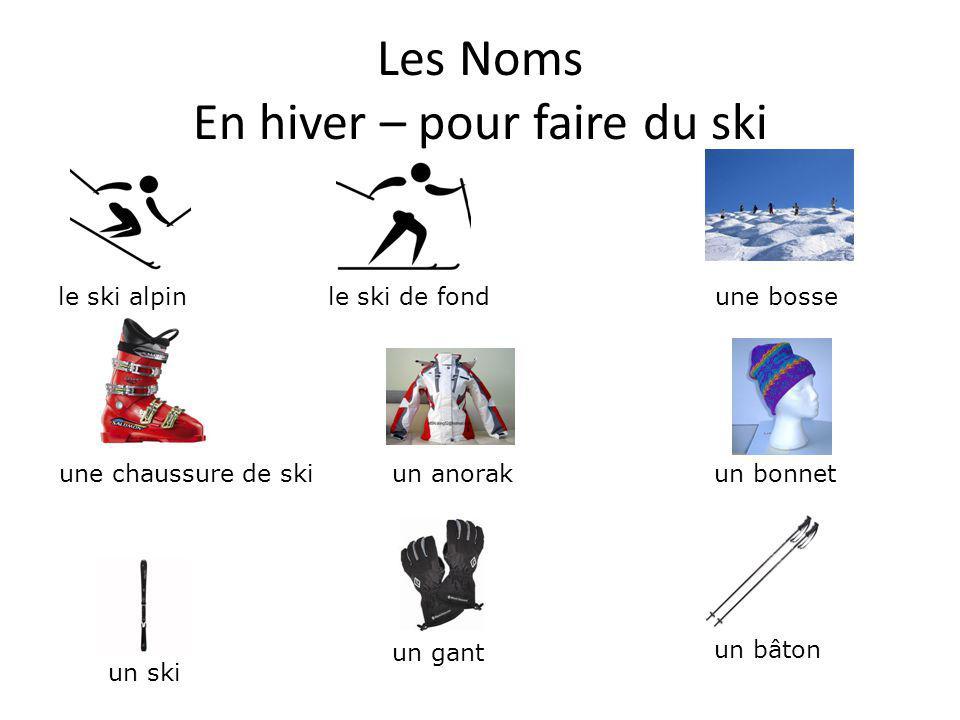 Les Noms En hiver – pour faire du ski