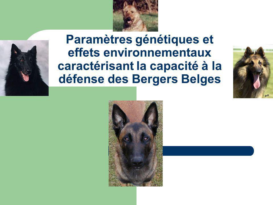Paramètres génétiques et effets environnementaux caractérisant la capacité à la défense des Bergers Belges