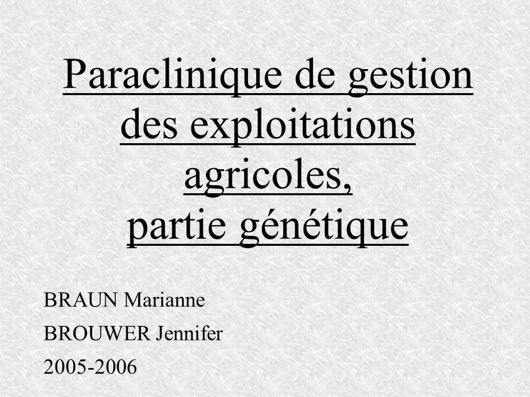 Paraclinique de gestion des exploitations agricoles, partie génétique