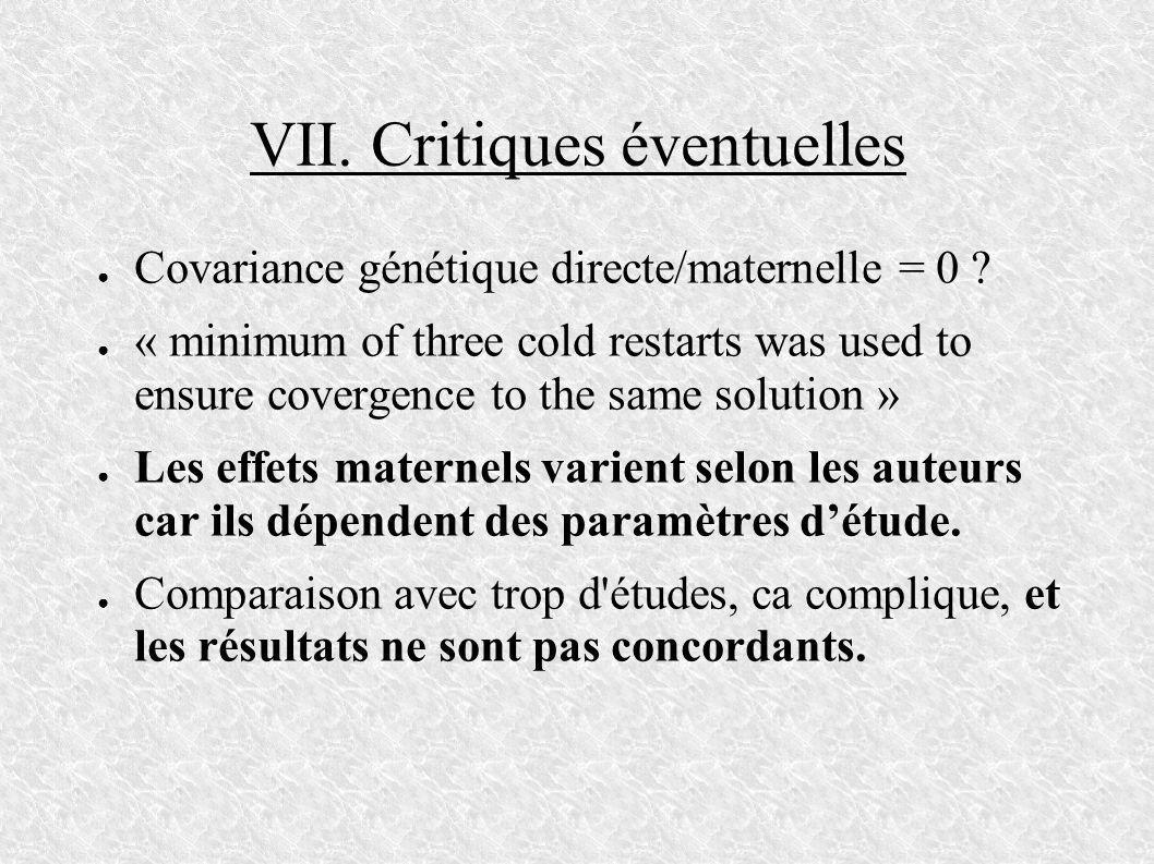VII. Critiques éventuelles