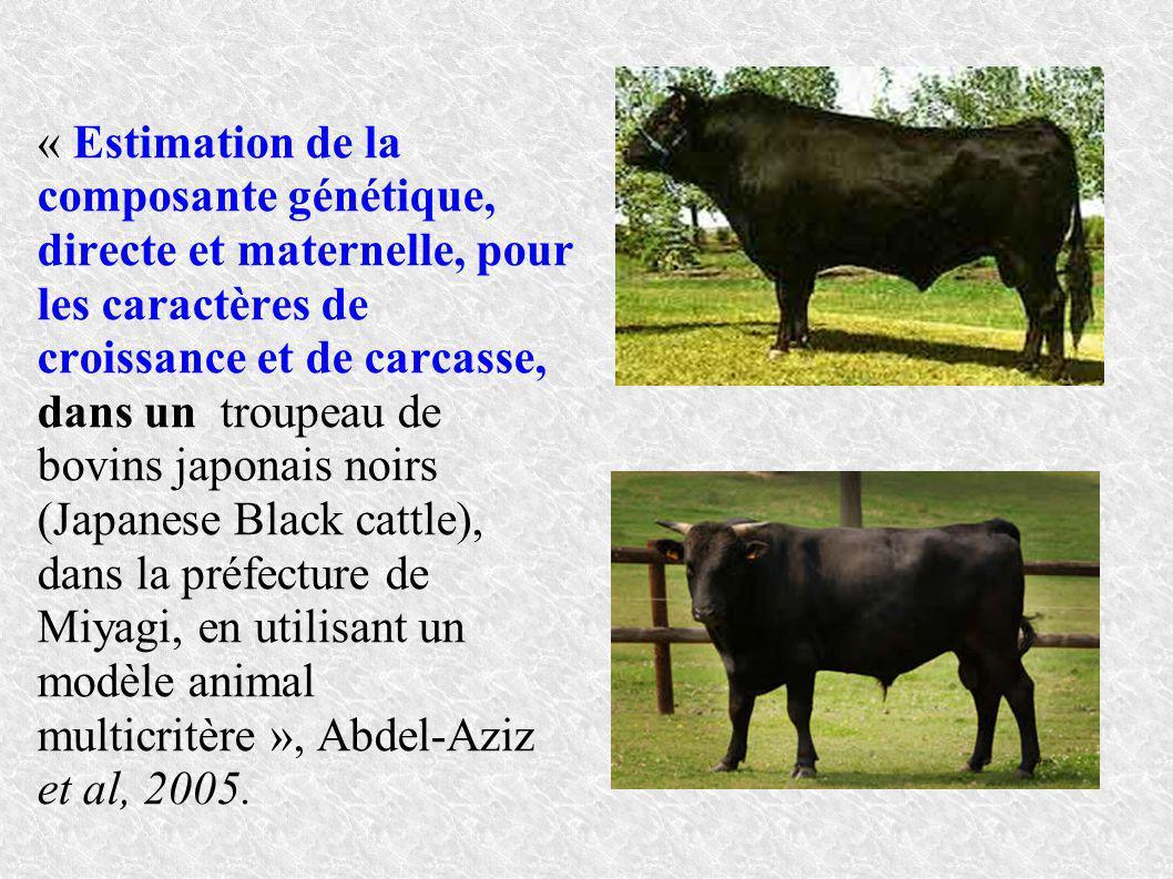 « Estimation de la composante génétique, directe et maternelle, pour les caractères de croissance et de carcasse, dans un troupeau de bovins japonais noirs (Japanese Black cattle), dans la préfecture de Miyagi, en utilisant un modèle animal multicritère », Abdel-Aziz et al, 2005.