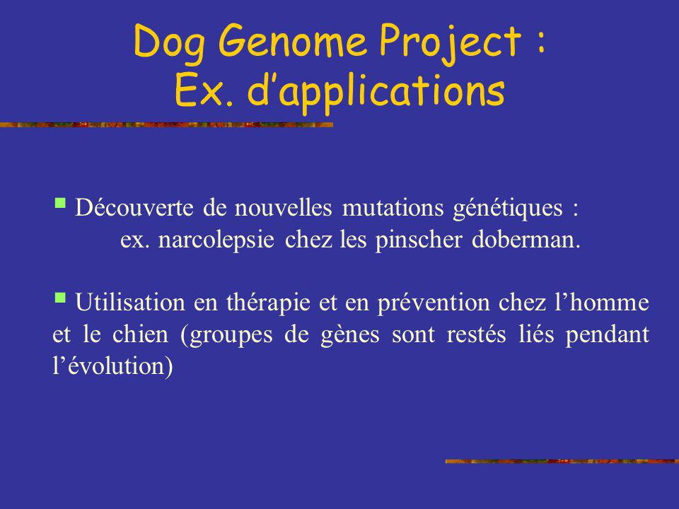 Dog Genome Project : Ex. d'applications