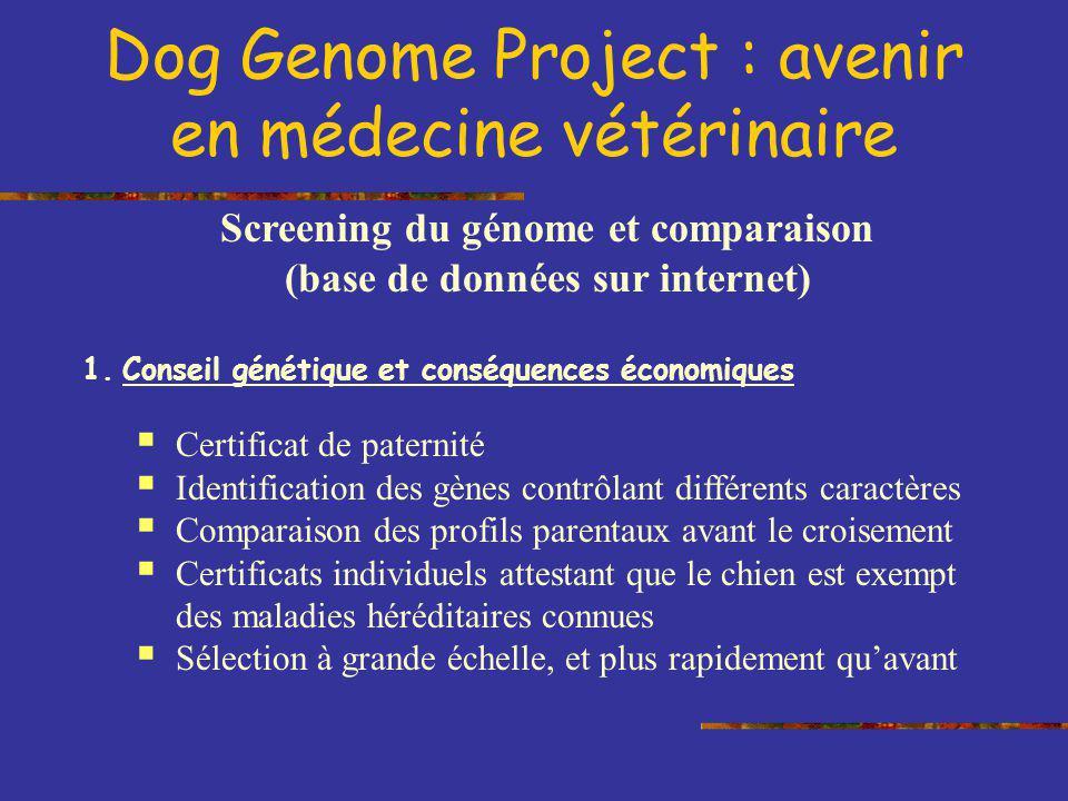 Screening du génome et comparaison (base de données sur internet)
