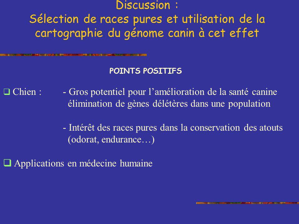 Discussion : Sélection de races pures et utilisation de la cartographie du génome canin à cet effet.