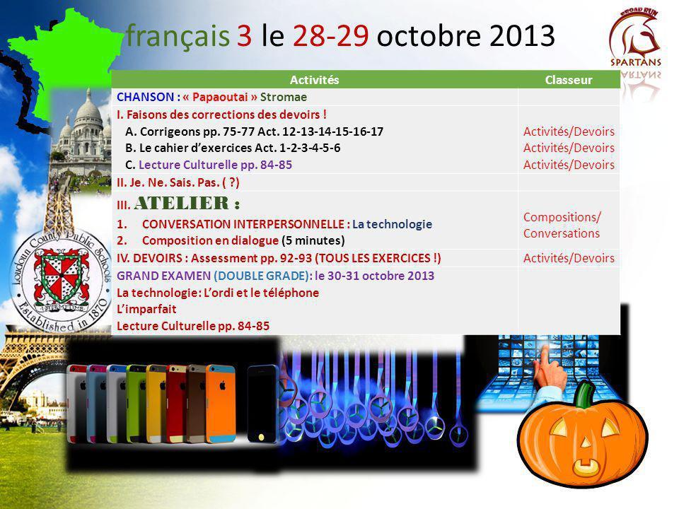 français 3 le 28-29 octobre 2013 Activités Classeur