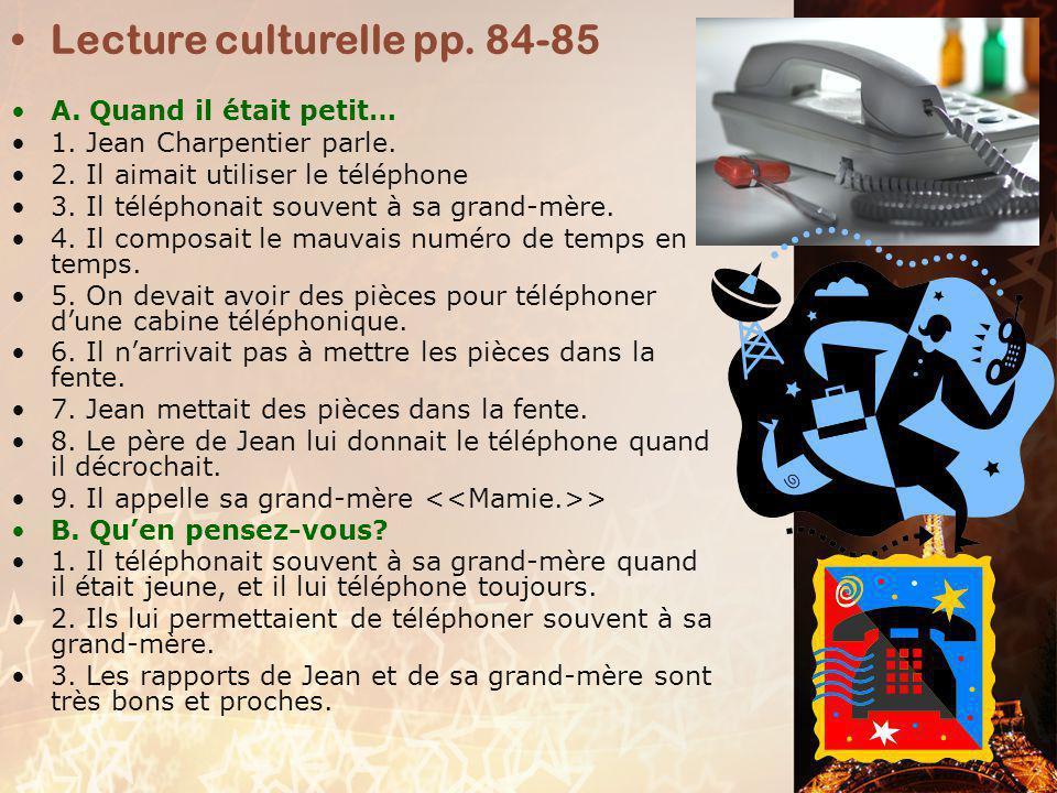 Lecture culturelle pp. 84-85