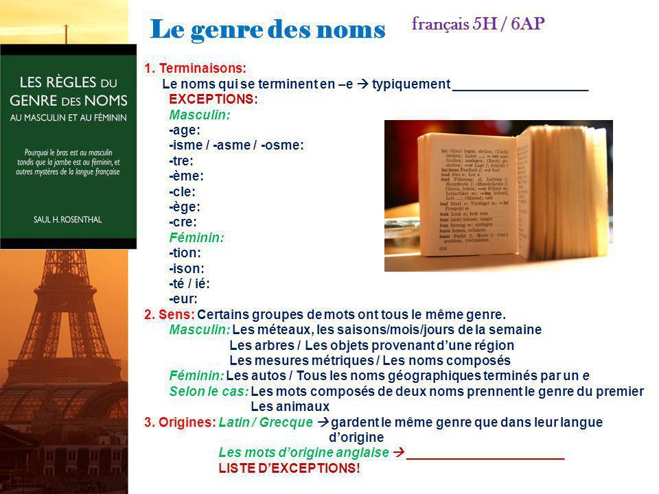 Le genre des noms français 5H / 6AP 1. Terminaisons: