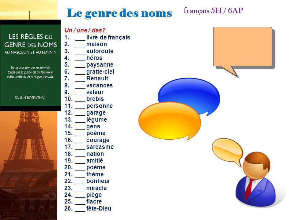 Le genre des noms français 5H / 6AP Un / une / des