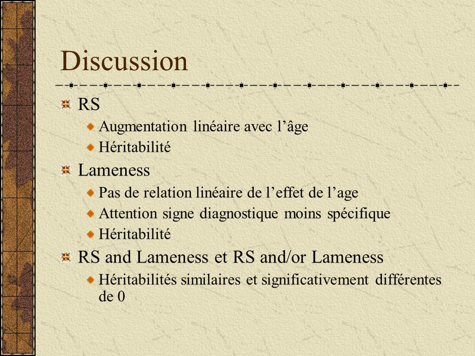 Discussion RS Lameness RS and Lameness et RS and/or Lameness