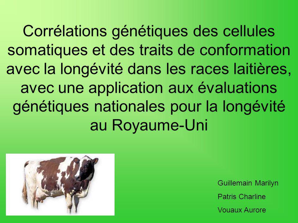 Corrélations génétiques des cellules somatiques et des traits de conformation avec la longévité dans les races laitières, avec une application aux évaluations génétiques nationales pour la longévité au Royaume-Uni