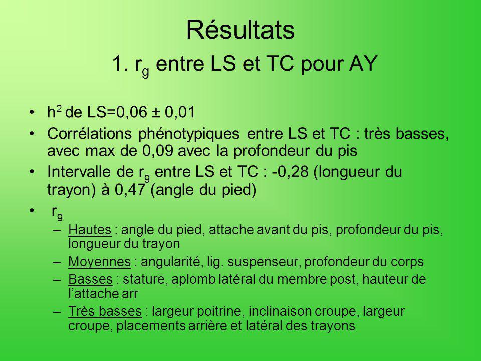 Résultats 1. rg entre LS et TC pour AY