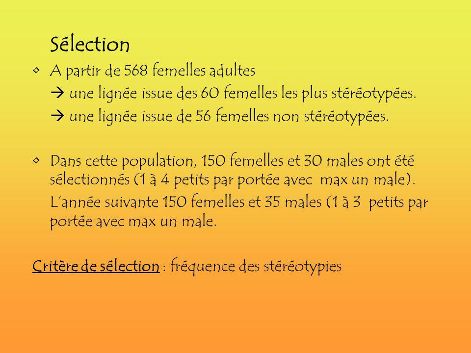 Sélection A partir de 568 femelles adultes