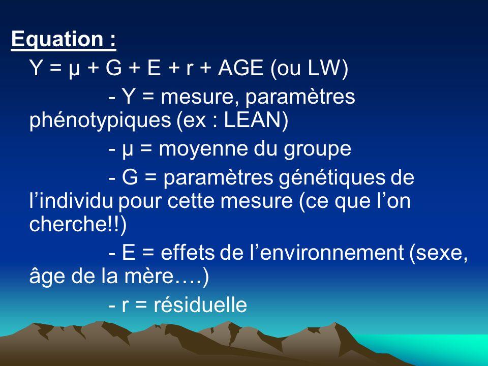 Equation : Y = µ + G + E + r + AGE (ou LW) - Y = mesure, paramètres phénotypiques (ex : LEAN) - µ = moyenne du groupe.