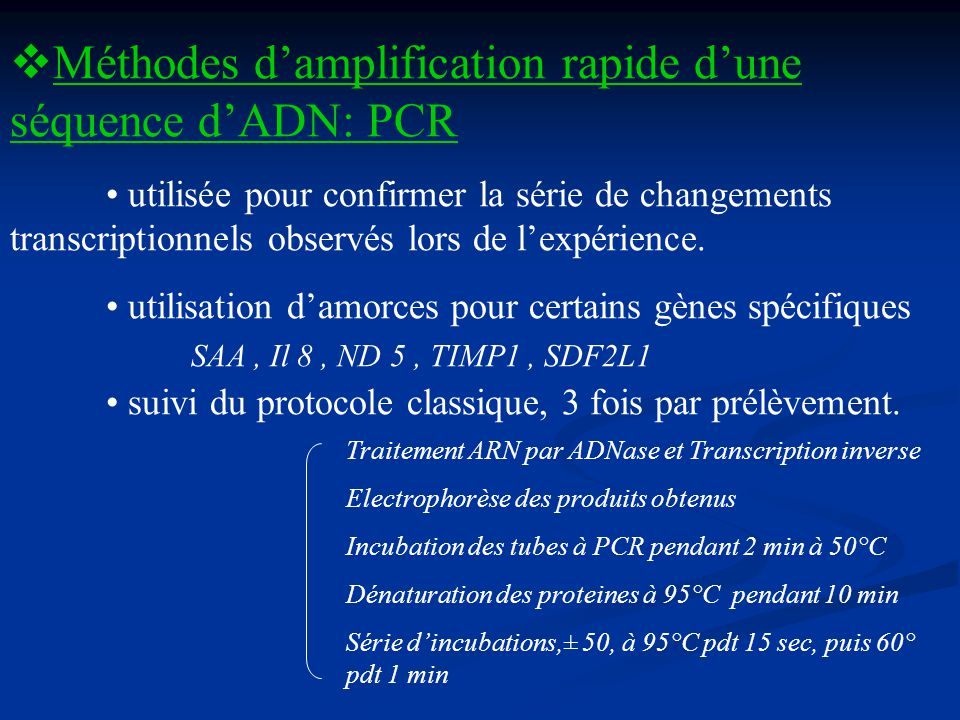 Méthodes d'amplification rapide d'une séquence d'ADN: PCR
