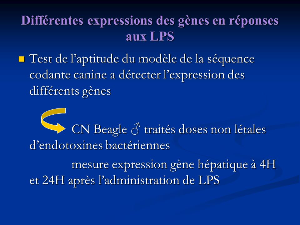 Différentes expressions des gènes en réponses aux LPS