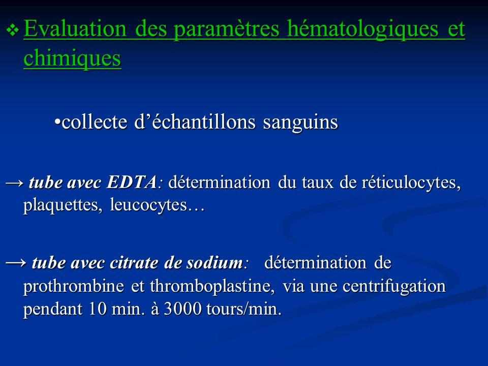 Evaluation des paramètres hématologiques et chimiques