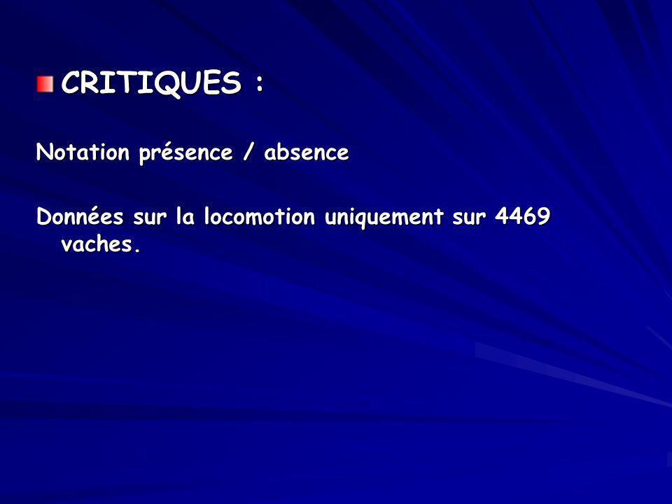 CRITIQUES : Notation présence / absence