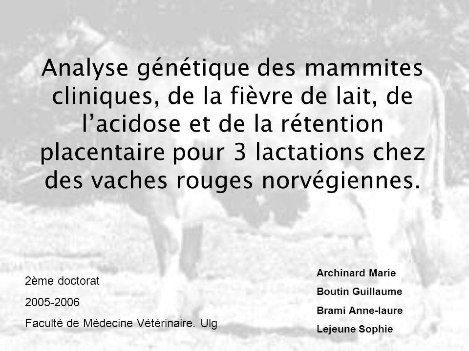 Analyse génétique des mammites cliniques, de la fièvre de lait, de l'acidose et de la rétention placentaire pour 3 lactations chez des vaches rouges norvégiennes.